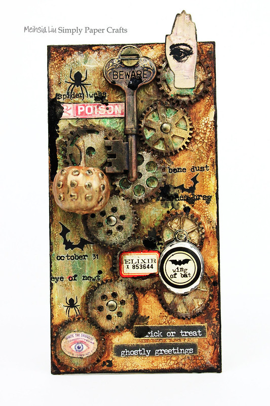Meihsia Lilu Simply Paper Crafts Mixed Media Tag Halloween Simon Says Stamp Tim Holtz