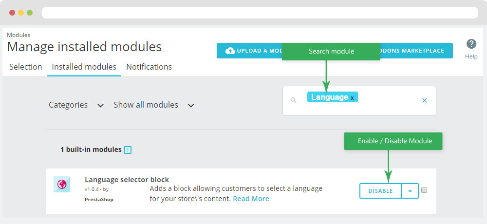 Language selector block