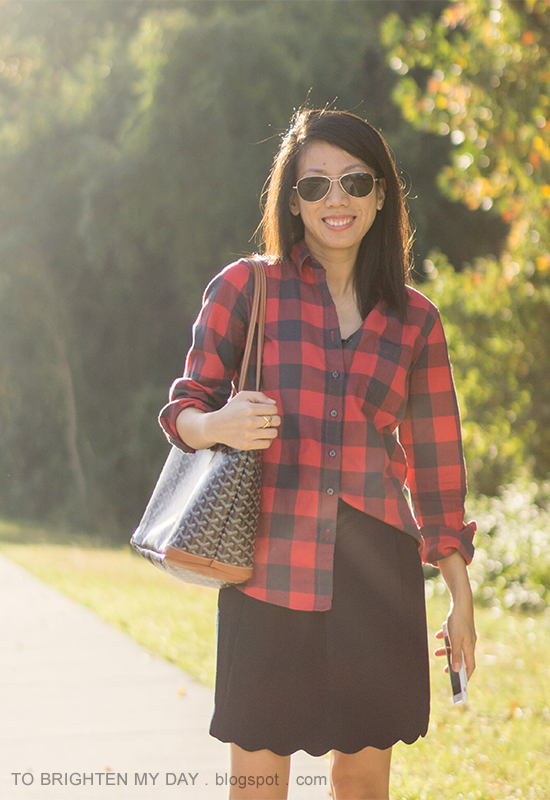 buffalo check plaid top, navy skirt with scallop hem, monogrammed tote