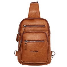 Men Large Capacity Genuine Leather Casual Outdoor Cowhide Chest Bag Crossbody Bag (1182968) #Banggood