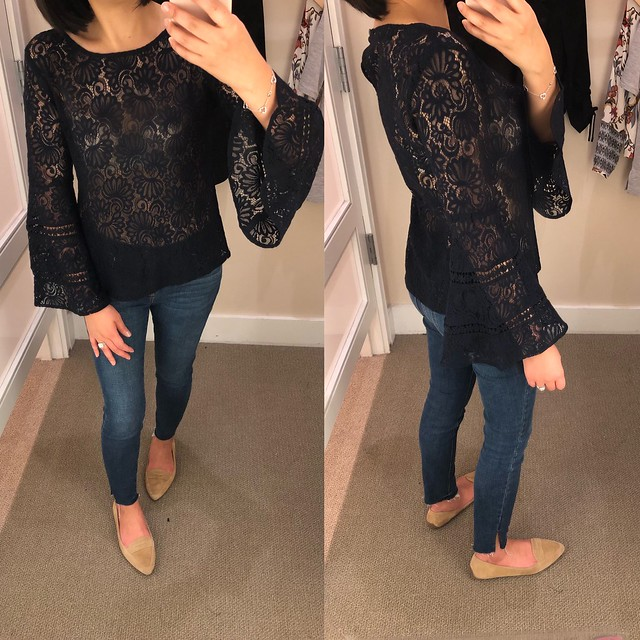 LOFT Lace Bell Sleeve Tee, size XSP