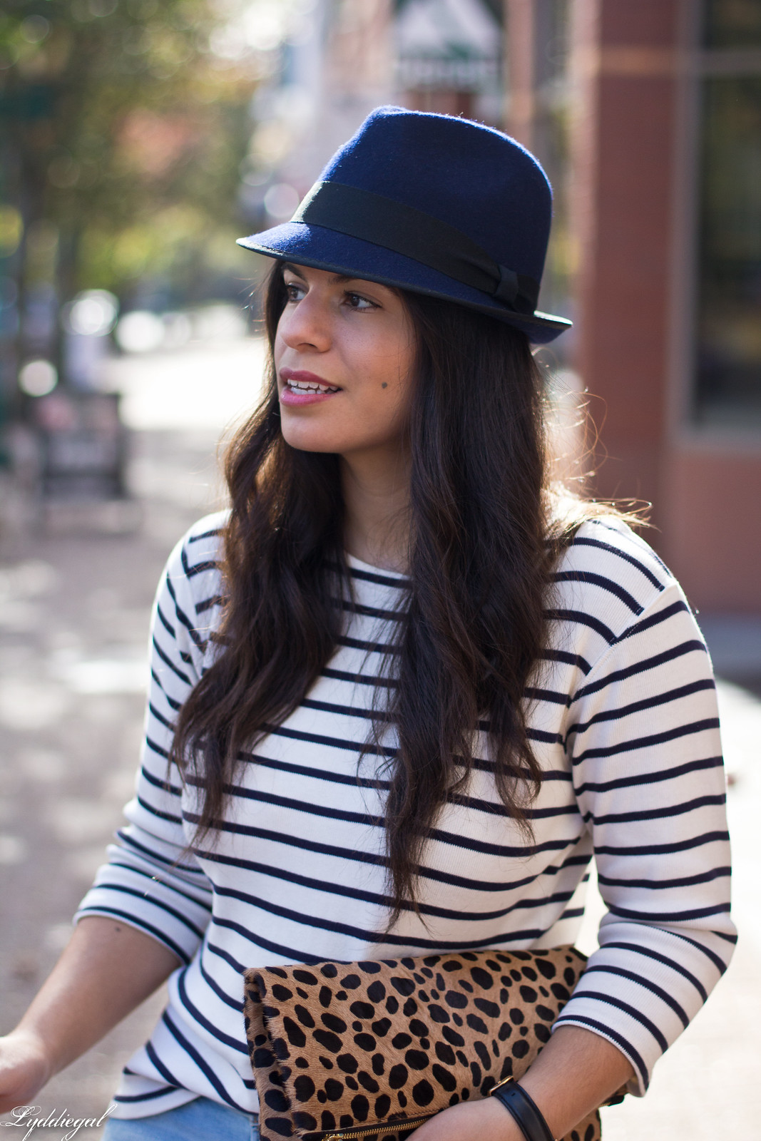 striped shirt, distressed jeans, red flats, navy fedora, leopard clutch-5