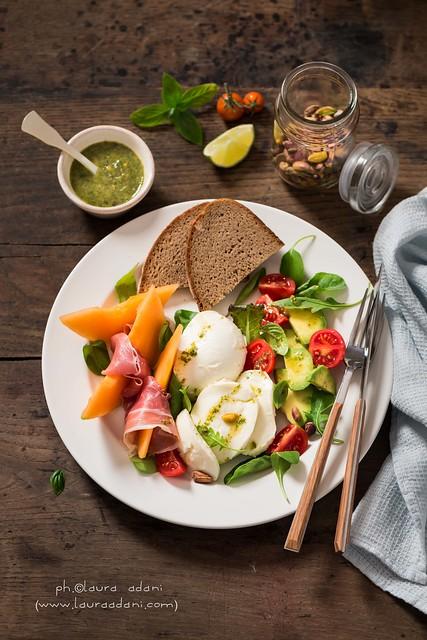 insalata di melone mozzarella e prosciutto - Granarolo Biologico