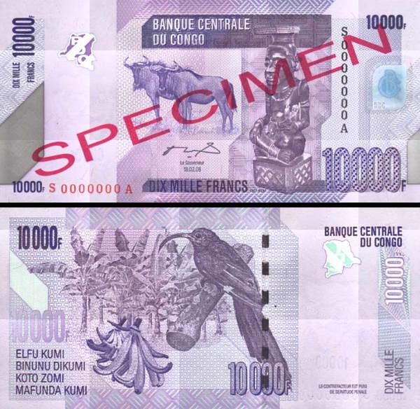 10 000 Frankov Kongo Dem.Rep. 2006(12), P103s UNC specimen