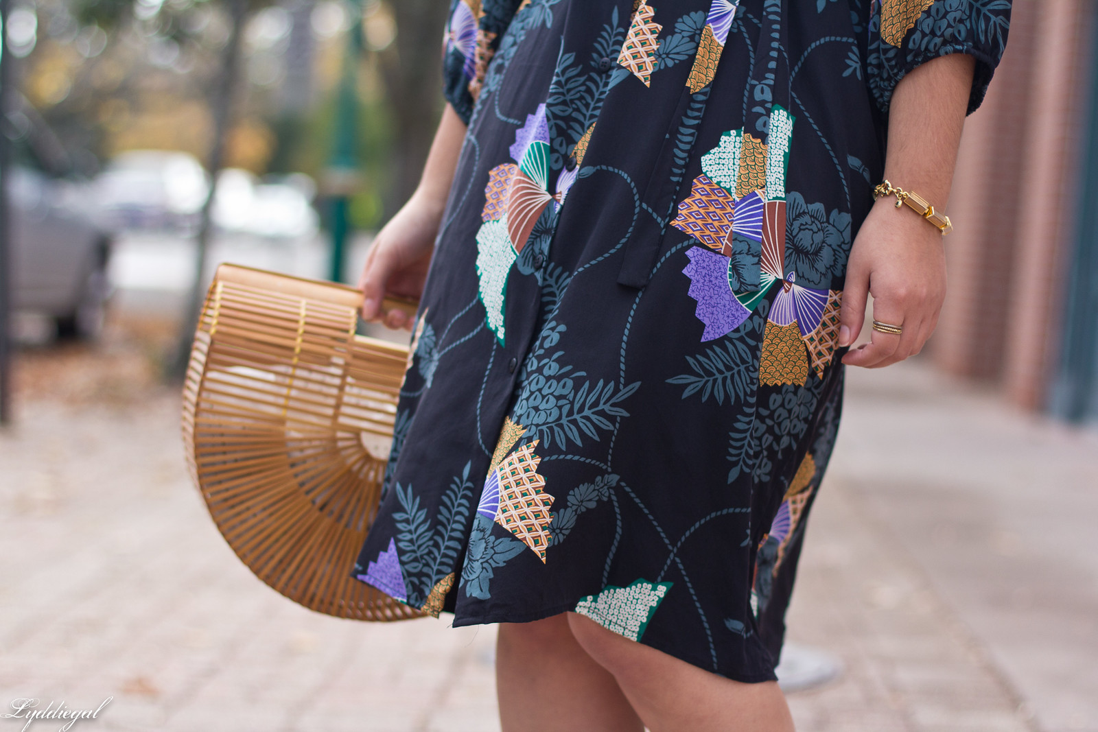 Tucker Japanese Floral Dress, Bamboo Bag, Fall Outfit-10