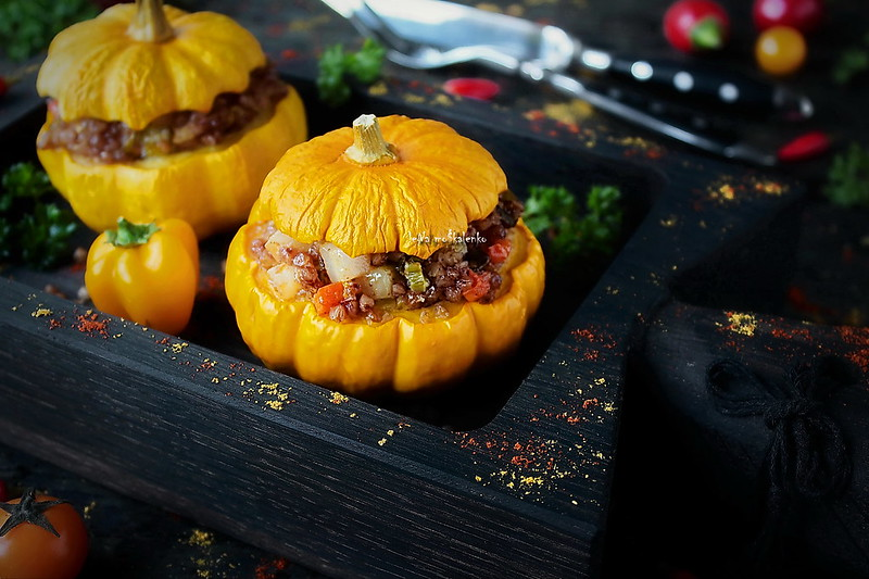 ...pumpkin stuffed with buckwheat, vegetables and bacon