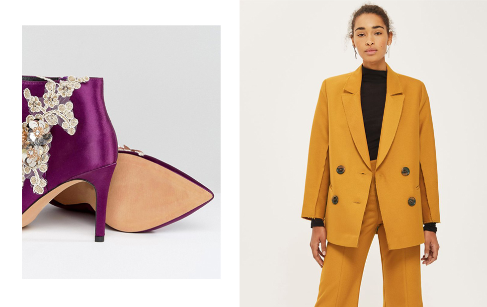 Yellow-mustard-trend-where-to-buy-blazer-woman-jacket-shoes-anckle-boots-purple-glitter-frowers
