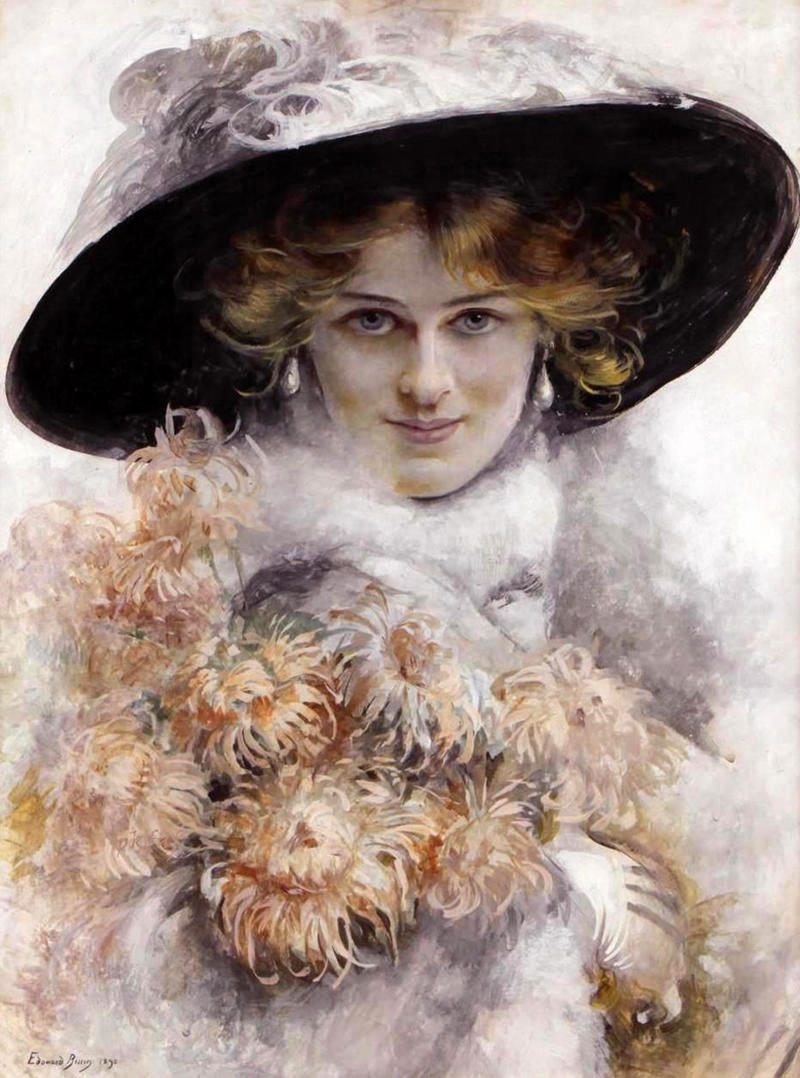 A Portrait of a Lady in a Black Hat with a Bouquet of Flowers in her Arms by Edouard Bisson, 1895