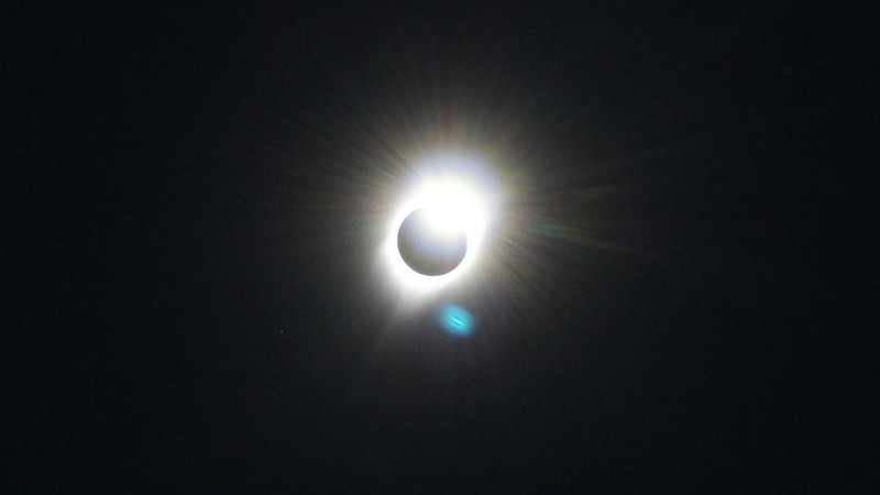 Overexposed Diamond Ring and the Sun's Corona during the Solar Eclipse from the summit of Dixie Butte