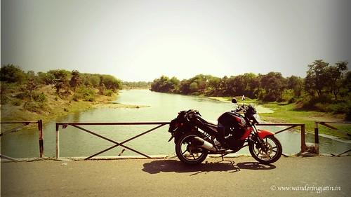 Bike over bridge in Central India