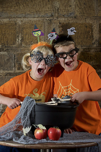 Olivia (5) and Tom (7) MacDougall from Edinburgh create a witches brew, to launch The Stoats Creepy Crawl with the National Trust for Scotland.