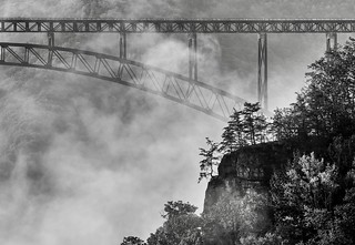 New River Gorge Bridge in B & W