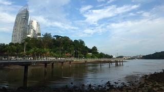 Berlayar Creek Boardwalk with Bukit Cermin