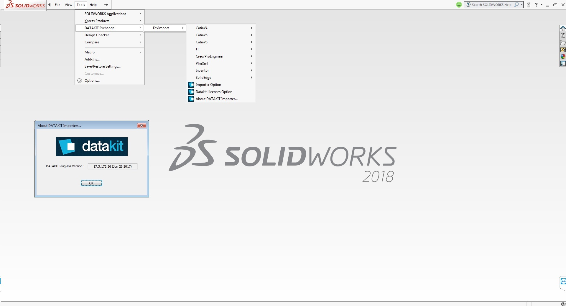 Working with DATAKIT 2017.4 Import-Export Plugins for SolidWorks 2010-2018