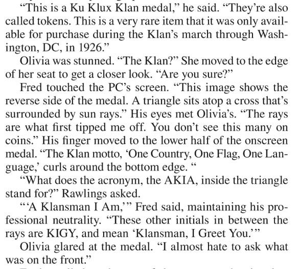 Klan medal snip Ellery Adams Written in Stone Vol 2 excerpt
