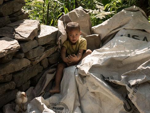 Kleiner Junge mit Küken im Vordergrund