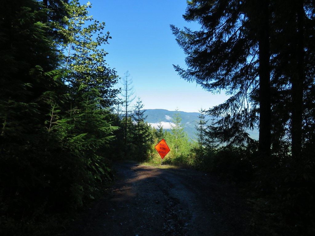 Road work sign on Dead Mountain Road