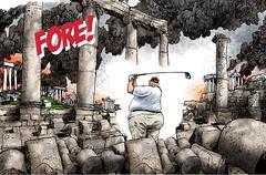 FORE! Trump golfing while California burns