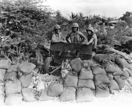 US Marines with captured 37mm-Anti-Tank Gun   on Saipan June-July-1941
