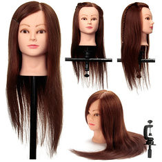 Coffee 100% Real Human Hair Training Head Cutting Practice Mannequin Clamp Holder Hairdressing (1045686) #Banggood