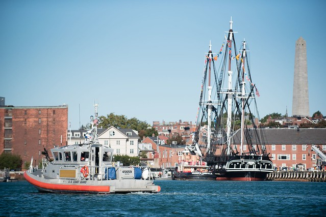 Coast Guard protects 'Old Ironsides' during turnaround voyage in Boston Harbor