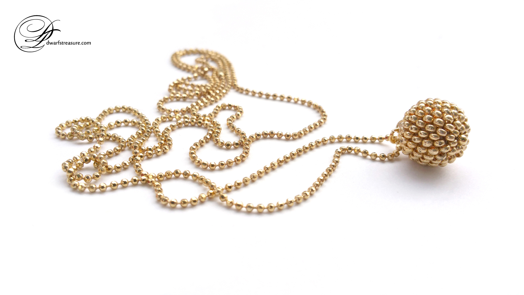 custom made ball chain necklace with gold beaded bead pendant