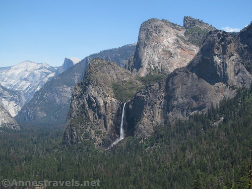 Clouds Rest, Half Dome, Cathedral Rocks, and Bridelveil Falls from Artist Point in Yosemite National Park, California