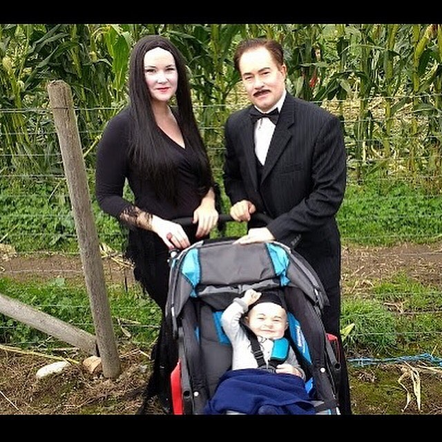 Happy Halloween from Morticia, Gomez, and Pubert Addams!