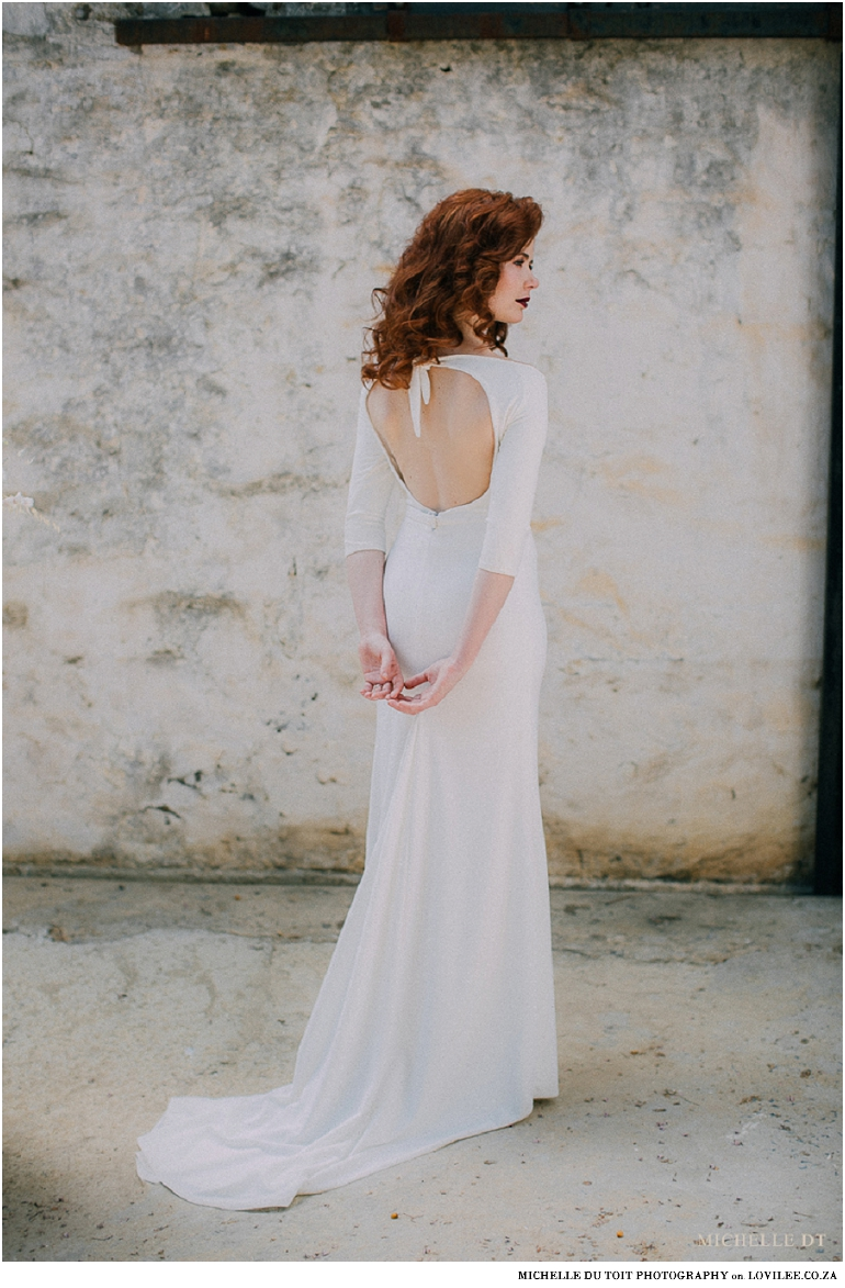 Minimalist wedding inspiration - Minimalist wedding dress with open back by janita Toerien