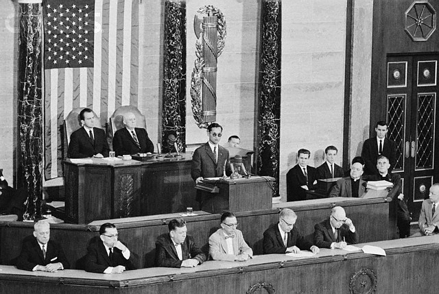 His Majesty King Bhumibol Adulyadej addresses a Joint Session of the United States House of Representatives and United States Senate at the U.S. Capitol Building, Washington, D.C. on June 29, 1960