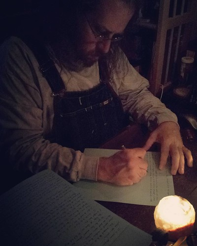 Night time power-outage longhand by candle. #amwriting #writersofinstagram #writerinoveralls #longhand #fountainpen #candlelight #overalls #vintage #Lee #bluedenim #dungarees #denim #biboveralls