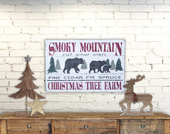 Smoky Mountain Christmas Tree Farm Rustic Wall Art Wood sign
