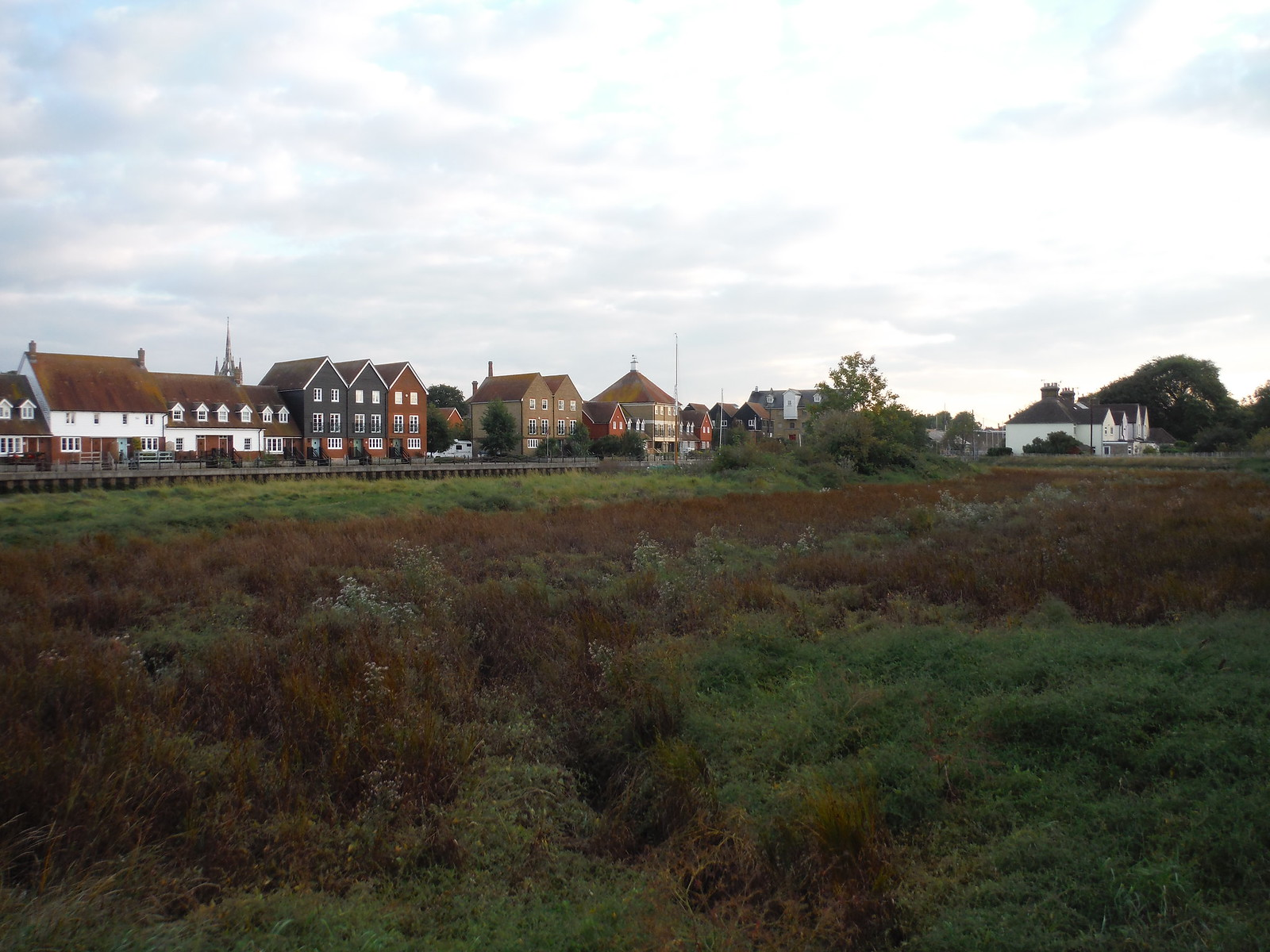 Houses along Faversham Creek, from Crab Island SWC Walk 299 - Teynham to Faversham