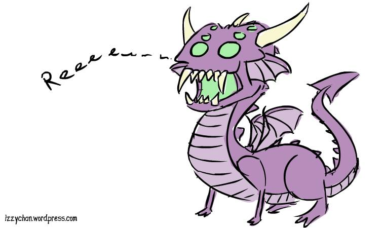 drawlloween fanged fiend demon lizard thing purple