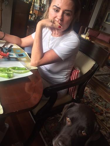 Having breakfast with mom