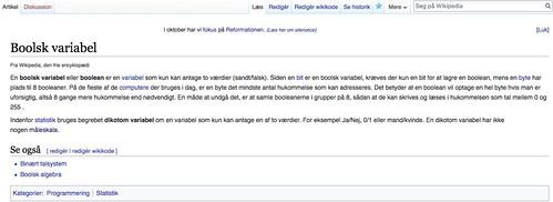 Dansk Wikipedia - Boolsk variabel - Oversettelse, Færdige side