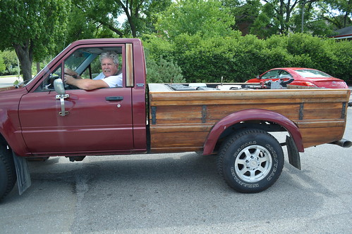 Wooden pick-up truck bed.