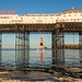 Low tide Brighton swimmer by lomokev