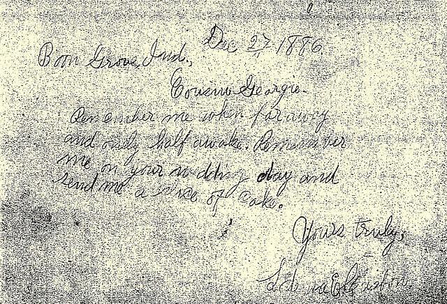 Casbon Lodema ltr to George W 1886