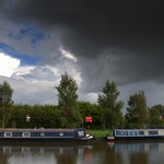 Grim looking sky over the canal at Preston
