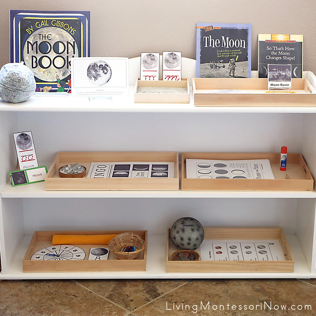 Shelves with Moon themed Activities