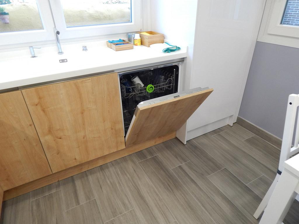Muebles de cocina en madera de roble y blanco - Lavavajillas medidas especiales ...