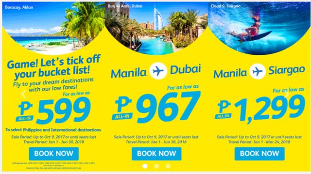 Cebu Pacific Air Promo Game Bucket List