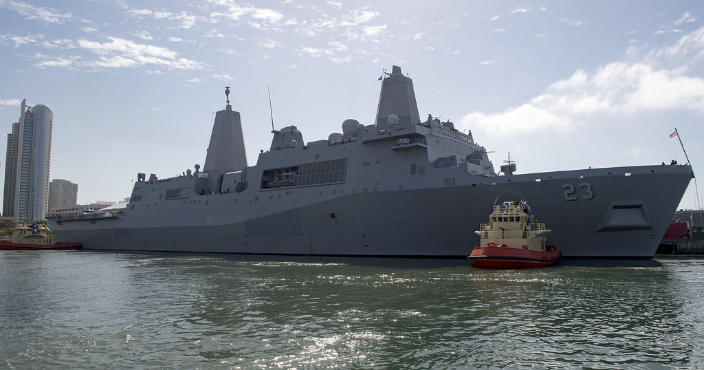 SAN DIEGO - The amphibious transport dock ship USS Anchorage (LPD 23) and Coast Guard Cutter Midgett (WHEC 726) arrived in downtown San Diego, Oct. 11, to begin the weeklong celebration.