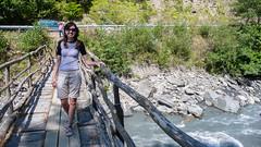 Mostek nad rzeeką Tskhenistskali gdzieś po drodze w Lashkheti. Monika.