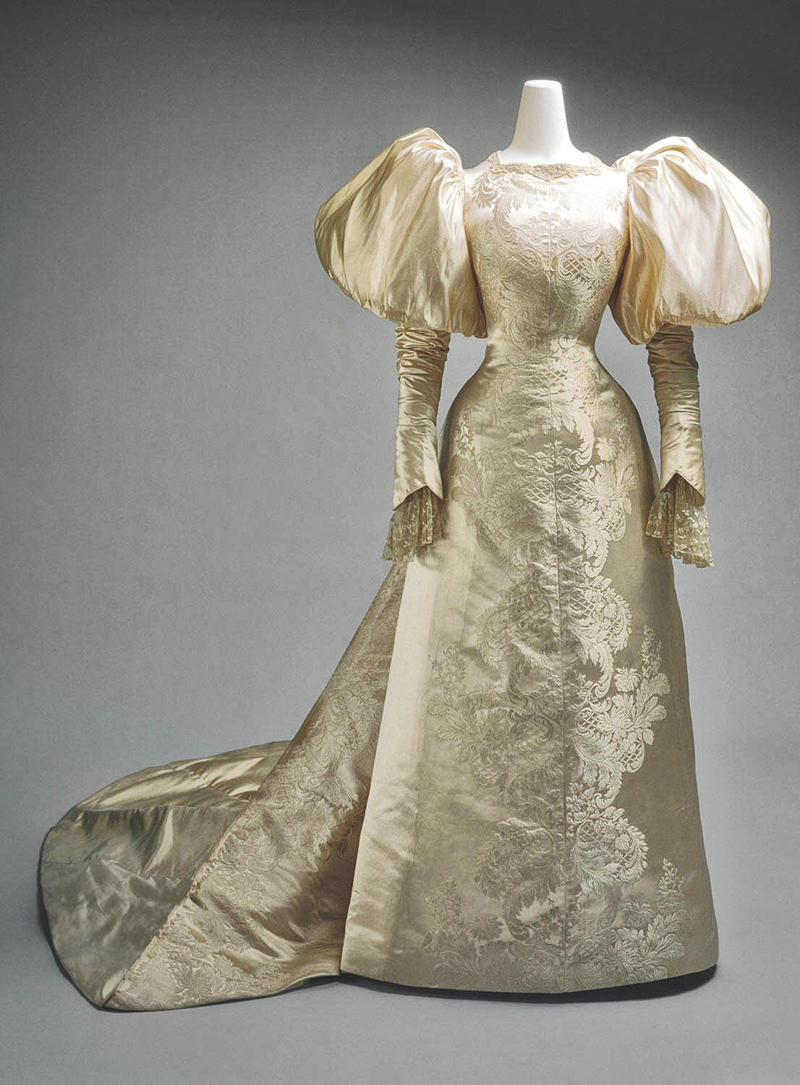 1896 Wedding dress. House of Worth. Silk, pearl. Credit metmuseum
