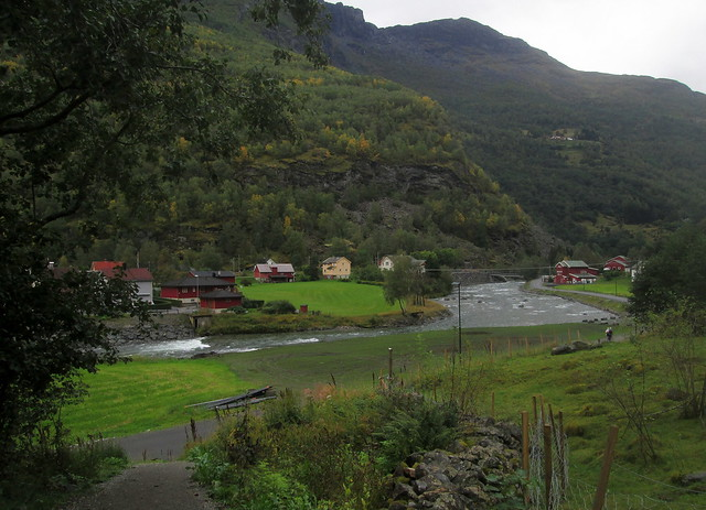 Part of Flåm with Flåm River