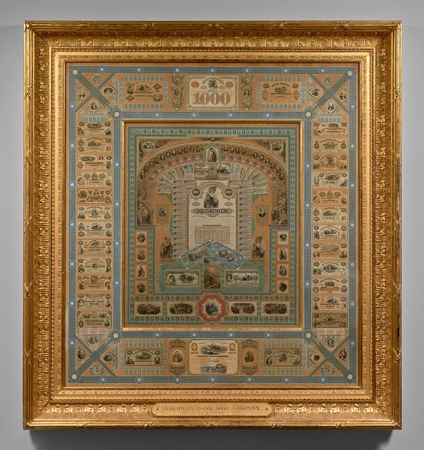 American Bank Note Company Collage, gold frame