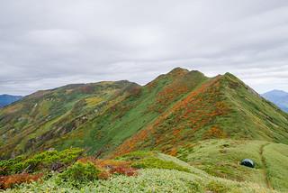 これから歩く朝日岳への稜線・・・曇って残念