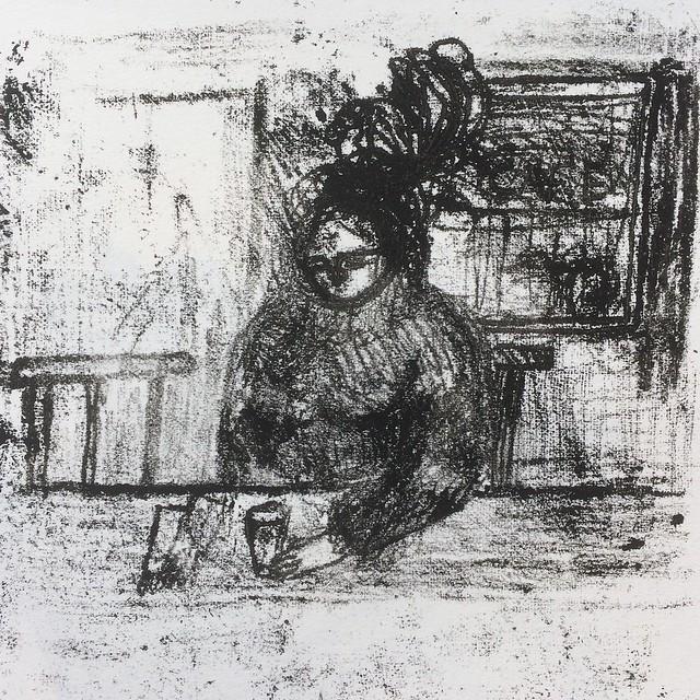 Woman at a cafe bar - monoprint